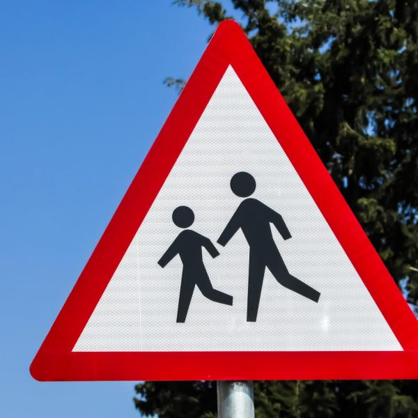 Warning school children crossing